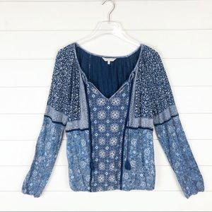 Lucky Brand Bohemian Long Sleeve Top Navy Paisley
